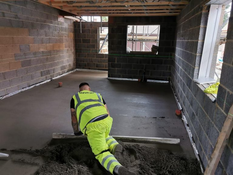 One of our floor screeders laying a screed on a project in Watlington, Oxford