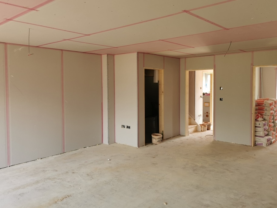 Drylining in one of the plots at Oxford Road, Kingston Bagpuize, Oxfordshire